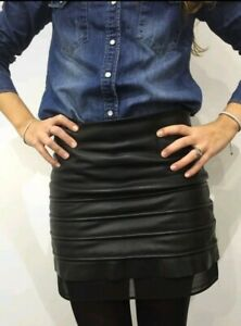 All Saints Black 100% Real Leather Skirt With Tule Size UK8 1889-B13