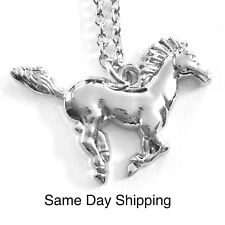 Horse Necklace or Pony Necklace Silver Chain, Charm, Pendant Silver platedGIFT