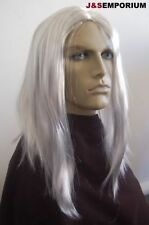 Long Grey Men's Fancy Dress Wig Hippy Rock Star Old Silver Viking Pirate