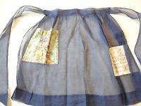 Apron Vintage 1970's Half Apron Navy Blue Organdy