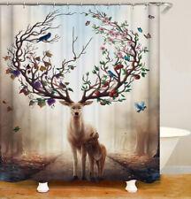 Shower Curtains Art abstract deer animal retro waterproof 12 Hooks 71*71inc