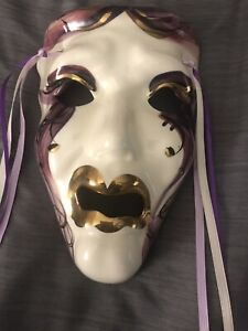 """Signed Mardi Gras Ceramic Mask New Orleans  8""""x 5 1/4"""" Masque Powers Wall Art"""