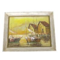 Vintage Mid Century Signed Impressionism Oil Painting // Harbor Boats Scene