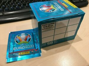 """Panini Euro 2020 """"NO PREVIEW""""  - SEALED BOX of 50 Vertical back packets RARE"""
