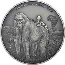 Kongo 1000 Francs 2018 Gorilla mit Baby Antique Finish Silver Ounce