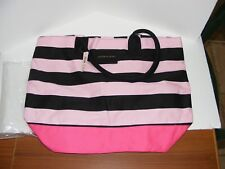 Victoria Secrets 2017 Limited Edition Striped Pink Canvas Tote Bag ~~ NWT