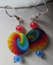 UNIQUE RAINBOW Candy Christmas Earrings 925 Hooks SHELL BEAD nora winn handmade