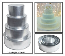 "4 TIER HEAVY DUTY ROUND CHRISTMAS CAKE TINS 6"" 8"" 10"" 12""  (4"" Deep)"