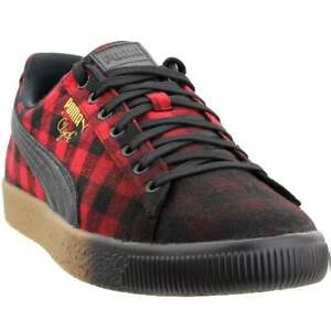 Puma Clyde Red Buffalo Plaid Mens  Sneakers Shoes Casual   - Red