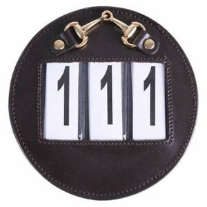NEW QHP Dressage / Competition Bridle Number Holder SET OF 2 - Brown Leather