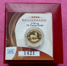 2006 GOLD KRUGERRAND 1/10TH PROOF COIN BOX AND COA