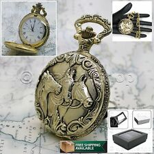 "Gold Horses Antique Pocket Watch Men 47 Mm White Dial + 14"" Link Fob Chain P233"