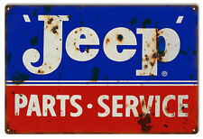 """Reproduction Blue And Red Jeep Parts Sign. 12""""x18"""""""