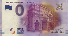 BILLET 2016 ZERO 0€ SOUVENIR ORANGE ARC DE TRIOMPHE PAS EURO SCHEIN BANKNOTE