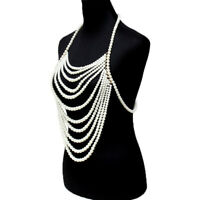 Fashion Jewelry Body Statement Pearl Beads Armor Shoulder Chain Harness Necklace
