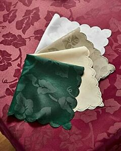 """Ivy Leaf Damask Tablecloths & Napkins 160x220cm OVAL 63x86"""" GREAT FOR CHRISTMAS"""