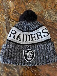 Women Raiders Pom Beanie Black Grey White One Size Fits All NWOT