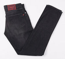 NWT $595 ISAIA NAPOLI Rinsed Black Cotton-Cashmere Jeans 29 W Slim Tapered Leg