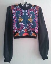 BEBE MultiColor Crop Top Long Sleeves Mesh New w/o Tags Reg Size XS