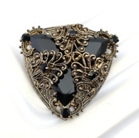 Black Art Deco Brooch Vintage Czech Style Filgree Costume Jewellery Gothic Pin