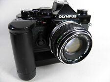 Olympus SLR cqamera om2-n Black Beauty Lens Zuiko 1,8/50 Winder MOT 2 exscellent