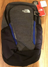 The North Face Vault Black Heather Blue Backpack Laptop Sleeve White Logo NWT