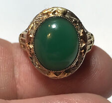 Stunning Art Deco 14K WG & YG Filigree Ring with Chrysophrase Cab - Size 5 1/4