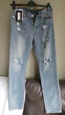 BRAND NEW with tags Boohoo Man Blue Skinny fit Ripped Biker Denim Jeans W32R NEW