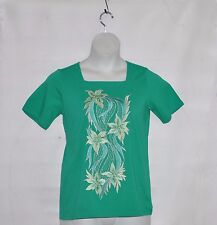 Bob Mackie Square Neck Floral Embroidered Knit Top Size XS Green