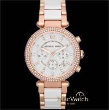 Michael Kors Damen Uhr Parker MK5774 Chronograph Edelstahl, rose, weiss, NEU OVP