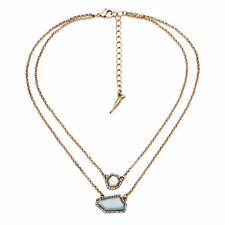 Pendant double layer necklace Sand Sky Isabel crystal pave