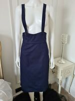 Lindy Bop 'Patty' Vintage Inspired Navy Blue Fitted Pinafore Skirt BNWT Size 14