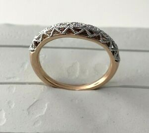 Natural Diamond Wedding Band Ring in 14k Solid Rose Gold (0.07 ctw) Sz 6