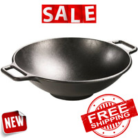 "WOK PAN CHINESE FRYING Cast Iron 14"" Lodge Pre Seasoned Handles Kitchen Cooking"