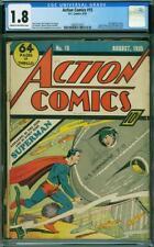 Action Comics 15 CGC 1.8 DC 1939 5th Superman Cover! RARE! Key Golden! L6 1 cm
