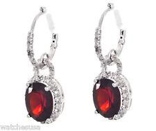 Sterling Silver Brown Garnet Oval Drop Diamonds Womens Earrings