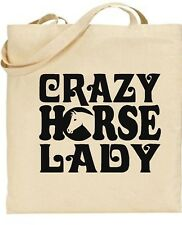 Crazy Horse Lady  Fun Tote Cotton Shopper college book  Bag Grooming Bag
