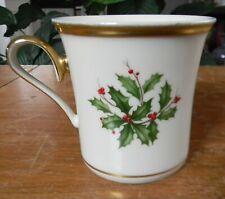 "New ListingLenox Holiday Dimension 3.5"" Mug Holly & Berries Gold Trim Christmas Made Usa"
