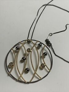 925 Silver Oxidised And Gold Statement Pendant And Chain