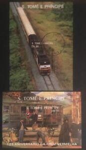 Sāo Tomé e Príncipe Eisenbahn Blöcke 183 + 209 gestempelt - Beschreibung lesen!