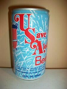 USA (U SAVE A LOT) BEER - SEAMLESS STEEL - BOTTOM OPEN - STAY TAB TOP