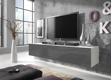 Floating TV Unit Cabinet Stand Rocco 160 cm Body Matte White / Door Gloss Grey