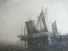 Segelschiffe Radierung von W. Rohr nach Simon de Vlieger Stille See