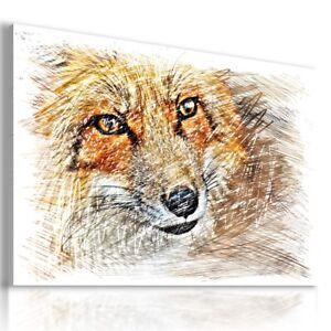 DRAWING FOX Wild Animals PRINT Canvas Wall Art Picture AN332 MATAGA