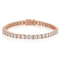 10 cttw Cubic Zirconia Tennis Bracelet Rose Gold Plated 925 Sterling Silver
