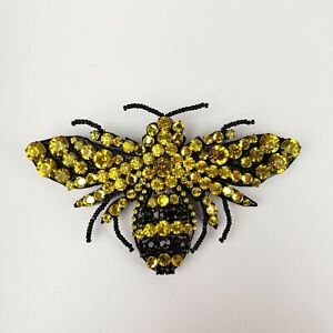 Gucci Yellow/Black Crystal Bee Large Brooch 470639 8272