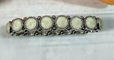 White Stone Bracelet Set in Silver Tone Stretch Band