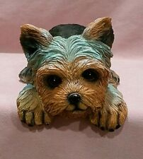 "Cold Cast Ceramic 10"" Long Yorkie Puppie Shelf Sitter ~ Brown, Gray, Black"