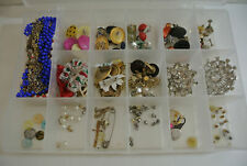 LOT Vintage Estate COSTUME JEWELRY Necklaces Earrings Rhinestone Brooch Pins +