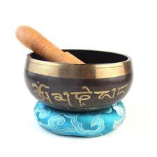 Buddhism Tibetan Meditation Singing Bowl Wood Striker Circle Mat Set